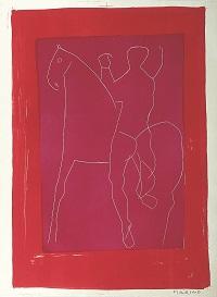 Reiter auf violetten grund, mit roter bordure1955